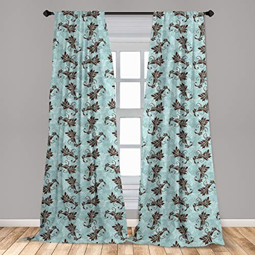 Lunarable Damask Curtains, Swirled Shabby Form Leaves Flowers Background Classical Style Victorian Print, Window Treatments 2 Panel Set for Living Room Bedroom Decor, 56' x 84', Turquoise Brown
