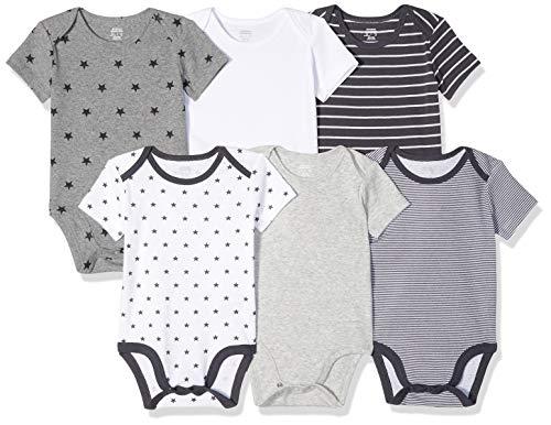 Amazon Essentials – Body de manga corta para bebé (6 unidades), Uni Star Stripe Neutral, Premature (40-46 cm)
