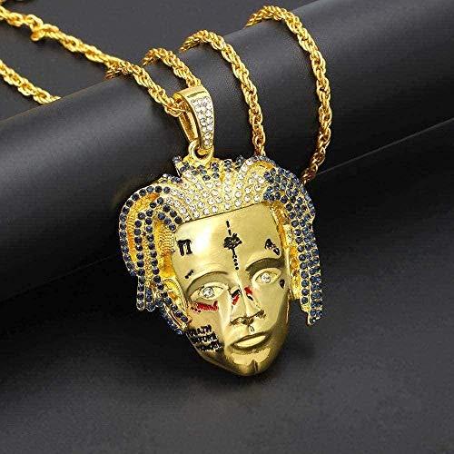 WLHLFL Collar Collares Personalizado Rapero Colgante Collar Cadenas de Cristal Hombres Hip Hop Punk Charms Joyería de Moda Regalos Collar Colgante Cadena para Mujeres Hombres