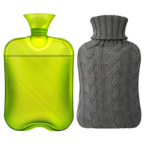 Samply Transparents 2L Hot Water Bottle with Knited Cover, Green