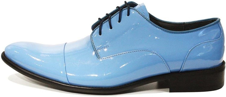 Modello blå Handgjort Italienska läder Mens Färg Blå Oxford Klädskor Cowhide Patent Leather Lace -Up