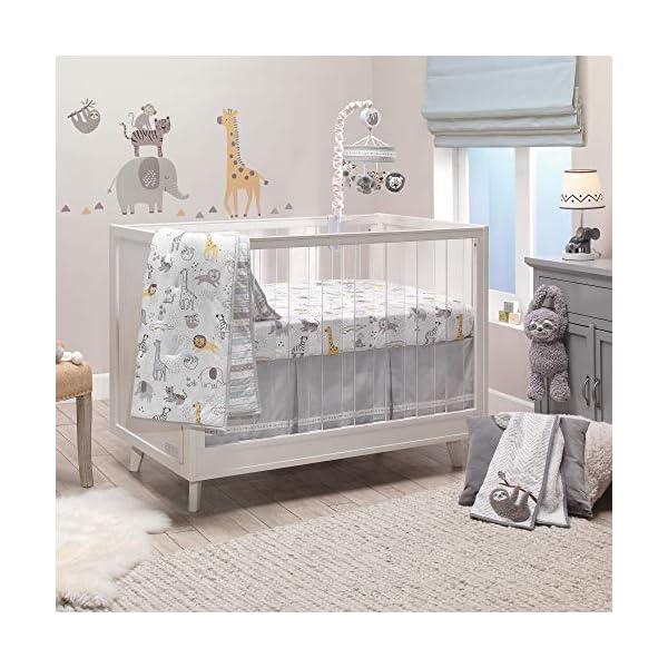 Lambs & Ivy Animal Jungle Cotton Jersey 4-Piece Crib Bedding Set – Multicolor