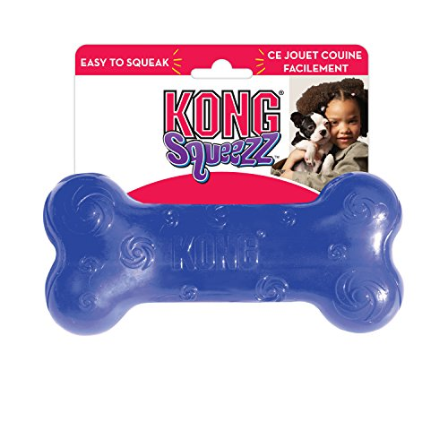 KONG - Squeezz Bone - Strong Squeaky Dog Toy, Squeaks even if punctured - For Large Dogs (Assorted Colors)