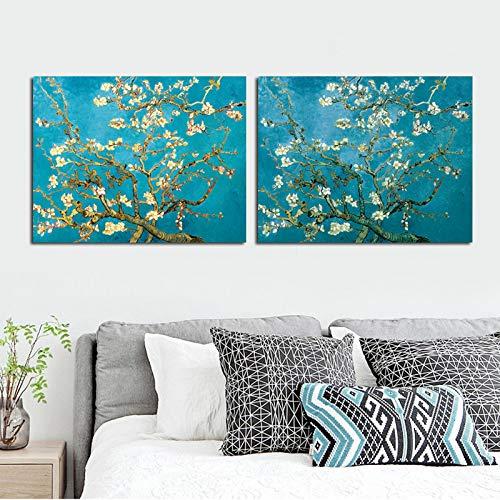 Frameloos Beroemde Artwork Bloeiende Amandelboom Waterlelie Vijver Claude Monet Van Gogh Canvas Schilderij Wall Art Voor Woonkamer <> 15.7x19.7inch