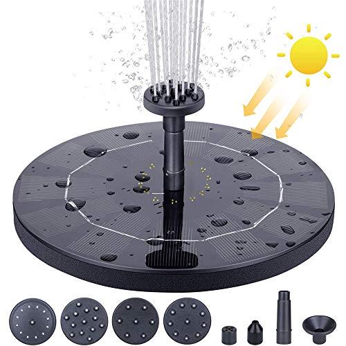 Hoodie - Bomba solar para fuente de agua (2,5 W, fuente de agua, fuente de baño para pájaros, bomba sumergible para estanque, piscina, jardín, pecera, acuario