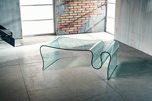 IMAGO FACTORY Sauvage   Mesa de salón – Puente de cristal curvado...