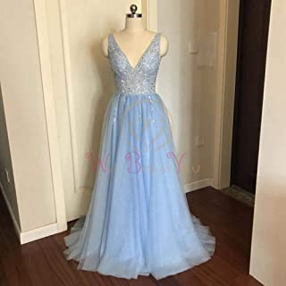 2020 Dresses V Neck Pink High Split Tulle Sweep Train Sleeveless Evening Gown A-line Lace Up V-Neck Sleeveless Prom Dresses Sleeveless Dress Sexy Maxi Dress V Evening Dresses Wedding Dress