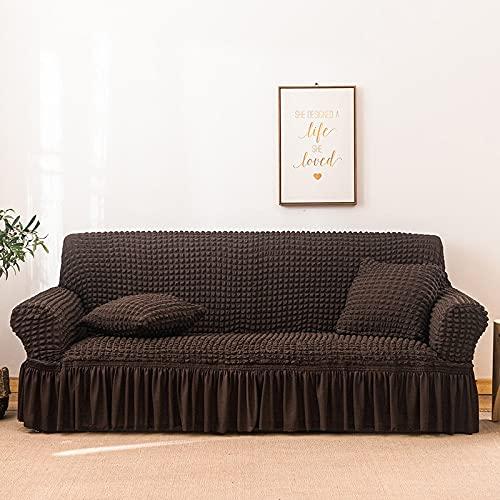 PPOS Funda de sofá Seersucker Sala de Estar, Falda de sofá, Antipolvo, Funda Suave única para sofá, Funda de sofá A10, 4 Asientos, 235-300cm-1pc