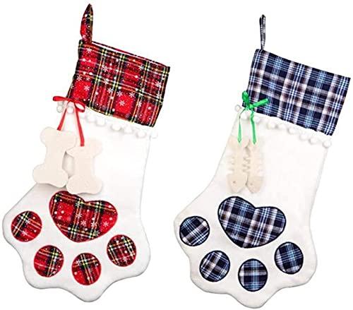 LANLANLife Medias de Navidad, 2 Piezas de Patas de Mascotas Medias de Navidad for Gatos y Perros, Chimenea navideña Festiva y Decoraciones de árbol de Navidad