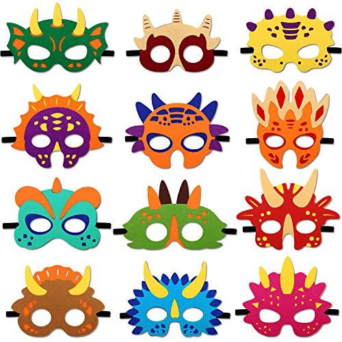 Rhdekoein Dinosaurier Filz Masken Dino Thema Geburtstagsparty begünstigt Kinder Kostüme Dress-Up Party für Junge und Mädchen (12 Stück)