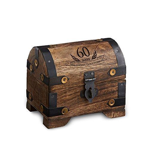 Casa Vivente Kleine Schatztruhe zum 60. Geburtstag – Schmuckkästchen mit Gravur – Aufbewahrungsbox aus dunklem Holz – Verpackung für Gutscheine – Geburtstagsgeschenk für Männer und Frauen