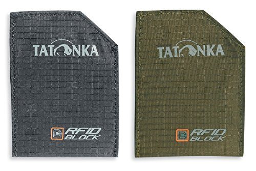 Tatonka EC Kartentasche Sleeve RFID B Set 2 Poche pour Carte Mixte-Adulte, Noir/Olive, 9 x 6.5 x 0.5 cm, 0.001 Liter