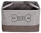 Caja de juguetes para perros de lona MOREZI, adecuada para almacenar suministros para mascotas, como juguetes para perros, ropa para perros, collares para perros, etc-Gris/Caqui
