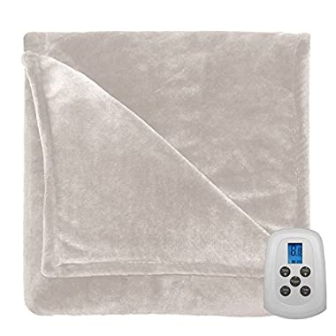 Serta 856603 Heated Electric Warming Silky Plush Blanket Throw - with Programable Digital Controller Queen Size in Ivory