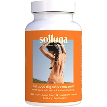 Feel Good Digestive Enzymes with Amylase, Lipase, Protease, Maltase, Invertase & Peptidase to Improve Digestion & Nutrient Absorption and Relief of Gas and Bloating - Solluna by Kimberly Snyder