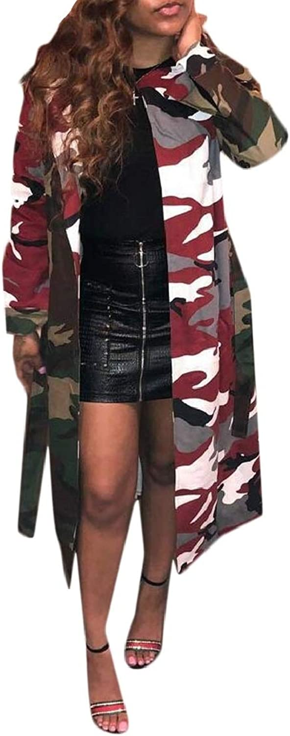 QDCACA Womens Long Sleeve Lapel Casual Loose Camouflage Trench Coat with Belt