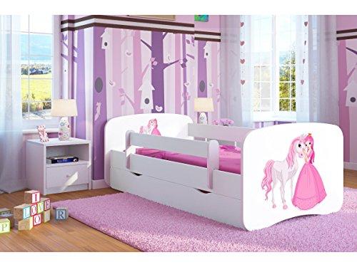 Kinderbett Jugendbett 70x140 80x160 80x180 Weiß mit Rausfallschutz Schublade und Lattenrost Kinderbetten für Mädchen und Junge - Prinzessin und Pferd 180 cm