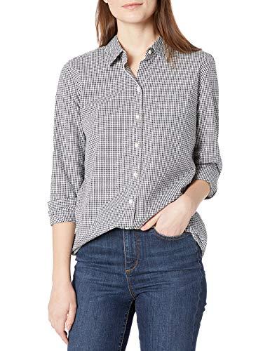 Goodthreads Seersucker Langarm-Tunika Knopfleiste Shirts, Navy and White Gingham, S