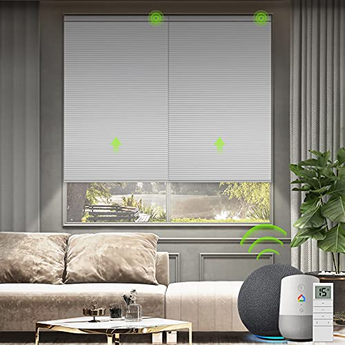 Yoolax Motorized Cellular Shade Compatible with Alexa, Blackout Smart Blinds Honeycomb Shade Customized Size, Cordless Single Cell Electric Blinds with Remote for Windows (White)
