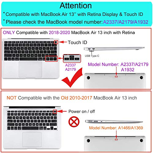 MOSISO MacBook Air 13 inch Case 2020 2019 2018 Release A2337 M1 A2179 A1932, Plastic Hard Shell