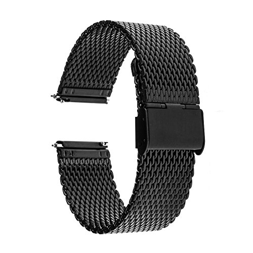 TRUMiRR 22mm Quick Release Watch Band Stainless Steel Strap for Samsung Galaxy Watch 46mm, Gear S3 Classic Frontier,Gear 2 R380 R381 R382, Moto 360 2 46mm, ASUS Zenwatch 1 2 Men, Pebble Time,Black