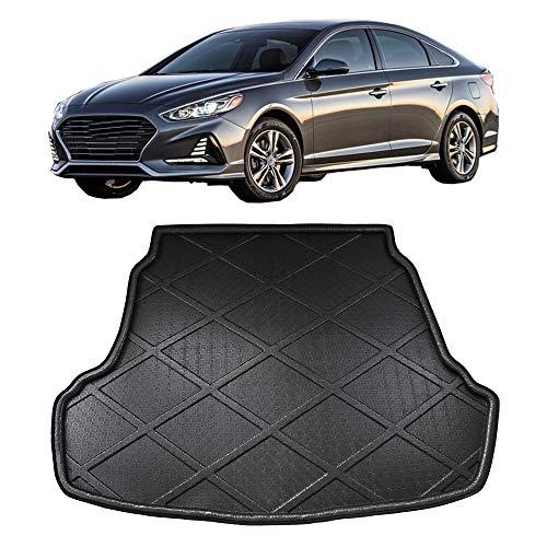 JTAccord Car Rear Trunk Boot Floor Mat Cargo Liner Floor Carpet Protective Pad for Hyundai Sonata LF Sedan 2015 2016 2017 2018, Black Waterproof, Car Accessories