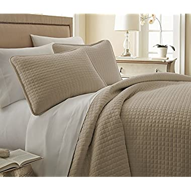 Southshore Fine Linens - Vilano Springs Oversized 2 Piece Quilt Set, Twin/Twin XL, Taupe