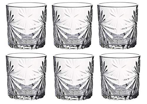 KADAX Trinkgläser, 6er Set, Wassergläser, Saftgläser aus Glas, Gläser für Wasser, Drink, Saft, Party, Garten, Universalgläser, Cocktailgläser, Getränkegläser, modernes Design (300ml, Sonne)