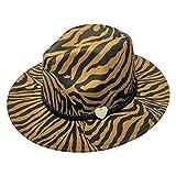 YiyiLai ハット レディース 帽子 メンズ 中折れ フェルトハット つば広帽子 カウボーイハット DIY 木製ハート ゼブラ柄 オークル