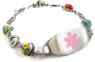 My Identity Doctor - Customized Medical Alert Bracelet Engraving - 1.2cm Steel & Glass Hearts