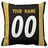 Throw Pillow 18'x18' Custom Football Decorative Room Design Gifts - Print Customized Couch Throw Pillows Covers Any Name & Number (P.Steeler$, 18' x 18')