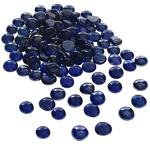 BELLE VOUS Guijarros de Vidrio (400 Piezas) - Azul Gemas de Forma Redonda (2 cm) - Piedras Decorativas para Jarrones, Acuarios, Decoración Fiesta, Boda, Regalos, Bricolaje y Artesanía