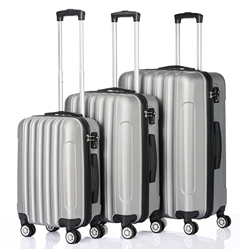 3 Pieces Luggage Sets Hard side Spinner Lightweight Durable Spinner Suitcase 20' 24' 28',3-in-1 Multifunctional Large Capacity Traveling Storage Suitcase Gray