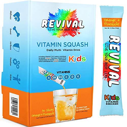 Revival Kids Vitamins Squash Drink - Multivitamin D, A, C, K, B6, B12 - Immunity, Growth, Development - Pineapple Orange Juice 30 Pack