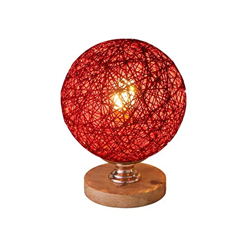 Bedside Table Lamp, Simple Desk Lamp Bedroom Bedside Table Lamp Rattan Ball Style Energy Saving Night Lamp for Living Room Kitchen Home Dining Office Desk Lamp with Fabric Shade for Bedroom, Living Ro