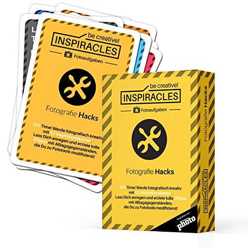 Foto Aufgaben Fotografie Hacks - Inspiration & Fotografieren Lernen mit 52 Aufgabenkarten, Edition Fotohacks, DIY-Anleitungen für kreative Fotos, in Pappschachtel