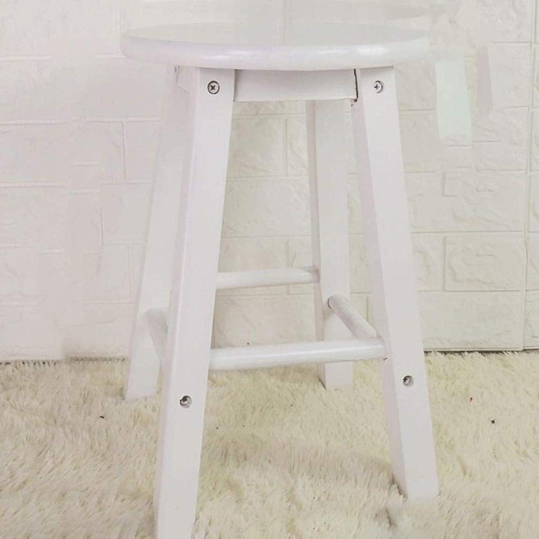 Solid Wood Stool High Stool Step Stool Home High Stool Wooden Bench Bar Chair Bar Stool High Wooden Bench High Bench Wood ZXMDMZ (color   White45)
