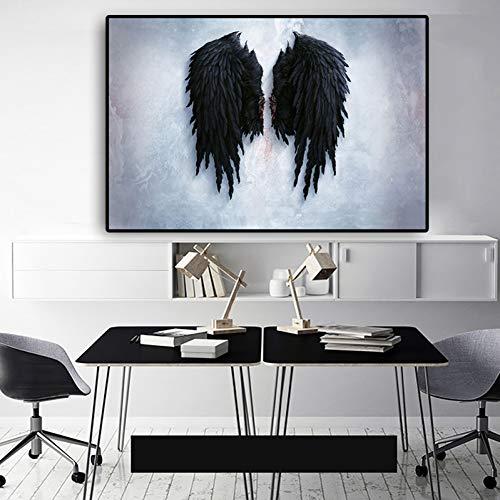 EBONP Leinwand Gemälde Leinwandbild Poster Leistungsfähige Feder-Schwarzweiss-Flügel-Leinwand-Malerei-Plakate und Drucke Nordic-Wand-Kunst-Bild für Wohnzimmer-28x40inch