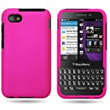 BlackBerry Q5 Case, CoverON [Snap Fit Series] Hard Rubberized Slim Protective Phone Cover Case for BlackBerry Q5 - Hot Pink