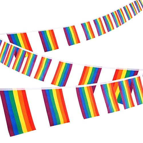Whaline Lesbian Gay String Bandiere Arcobaleno 30 ft Rainbow Flag LGBT Pride Bandiera String Indoor/Outdoor Gay Lesbian Party Decorazione