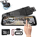 Mirror Dash Cam 10' Full Touch Screen Full HD Dual Lens Front and Rear Camera Video Streaming Media Night Vision with 32GB SD Card & Hardwire Kit