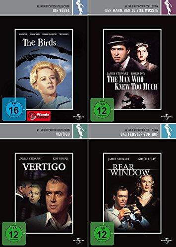 Alfred Hitchcock Collection | Die Vögel + Vertigo + Das Fenster zum Hof + Der Mann der zu viel wusste [4er DVD-Set]