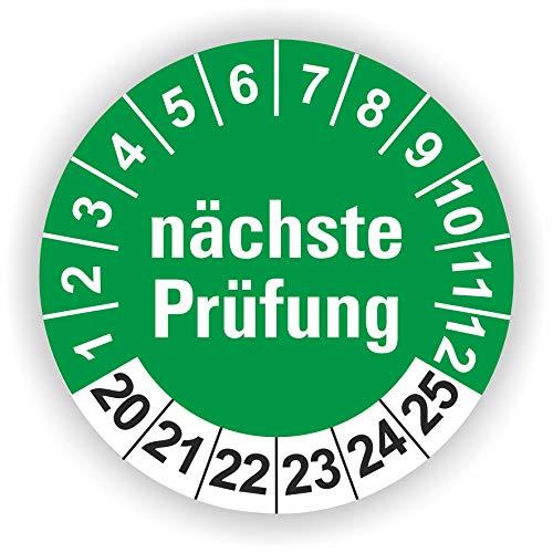 5-1.000 Stück Prüfplaketten Prüfetiketten Wartungsetiketten nächste Prüfung Ø 30mm (Grün 90 Stück)