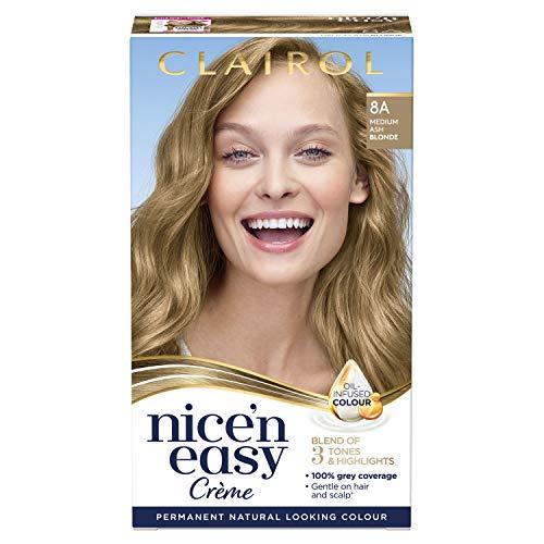 Clairol Nice'n Easy Crème Permanent Hair Dye, 8A Medium Ash Blonde