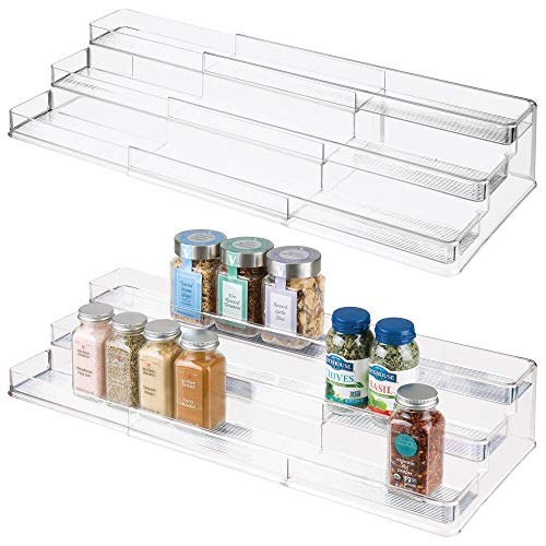 mDesign Large Plastic Adjustable, Expandable Kitchen Cabinet, Pantry, Step Shelf Organizer/Spice Rack with 3 Levels of Storage for Spice Bottles, Jars, Seasonings, Baking Supplies - 2 Pack - Clear