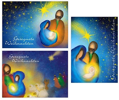 Pacidus 12 cartoline di Natale cristiane 'Geburt Jesu Christi', 3 motivi da 4 cartoline, DIN A6,...