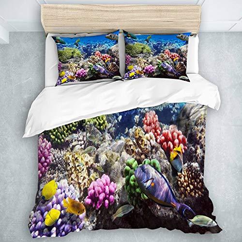 SUHETI Mikrofaser Bettbezug,Lot Hurghada Riff Korallenfische Rot Ägypten Tiere Wildlife Natur Ocean Life Aquarium Hawaii Unter Wasser,Bettwäsche 135x200cm Kissenbezügen 2(50x80cm)