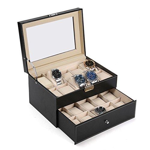 ExcLent Gran 20 Ranura De La Caja De La Exhibición Del Reloj De Cuero Negro Reloj Organizador De Vidrio Top