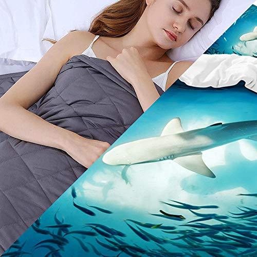 Weighted Blanket con Funda,6.8kg Manta de Peso para Peso Corporal 49-63kg para Adultos Ansiedad,203x221cm,Azul
