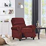 Domesis Cortez - Pebble Seude Push Back Recliner Chair, Burgundy Red